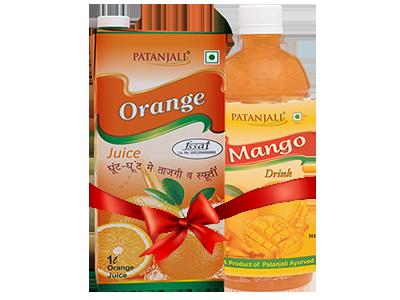 PATANJALI FRUIT BEVERAGES COMBO ( MANGO DRINK 1Ltr  + ORANGE JUICE 1Ltr)