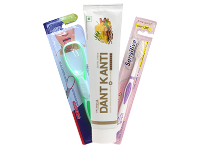 ORAL CARE COMBO(DANT KANTI ADVANCED +  SENSITIVE TOOTHBRUSH + TONGUE CLEANER)