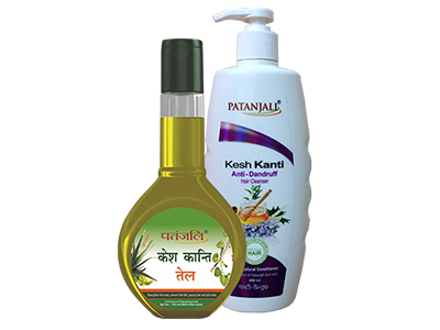 PATANJALI KESH KANTI OIL 120ml PLUS KESH KANTI ANTI DANDRUFF  HAIR CLEANSER 450ml