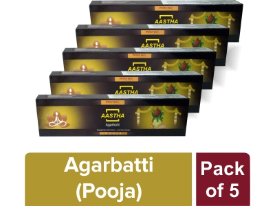AASTHA AGARBATTI - POOJA 20 gm (Pack of 5)