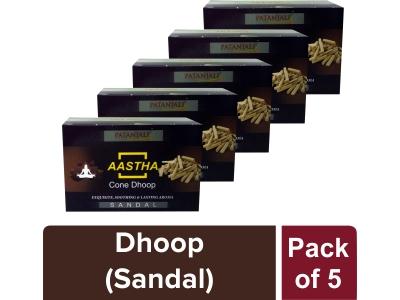 AASTHA CONE DHOOP - SANDAL(Pack of 5)