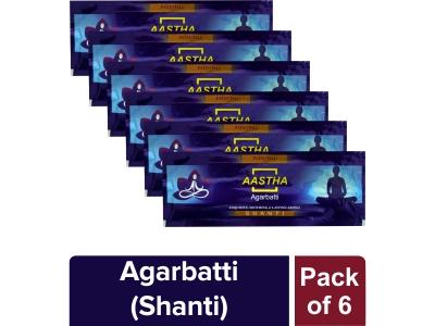 AASTHA AGARBATTI SHANTI - 25 GM (Pack of 6)