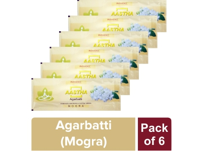 AASTHA AGARBATTI - MOGRA 25 gm (Pack of 6)