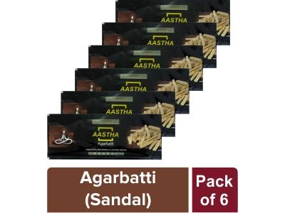 AASTHA AGARBATTI - SANDAL 20 gm(Pack of 6)