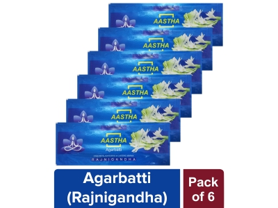AASTHA AGARBATTI - RAJNIGANDHA 25 gm (Pack of 6)