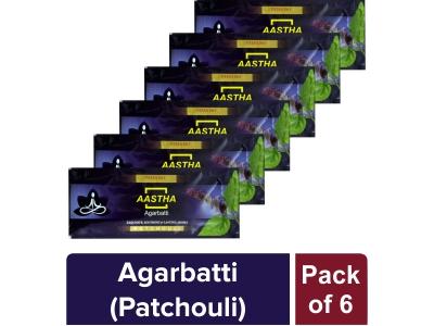 AASTHA AGARBATTI - PATCHUOLI 20 gm(Pack of 6)