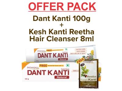DANT KANTI NATURAL 100 GM WITH FREE KESH KANTI REETHA HAIR CLEANSER 8ML