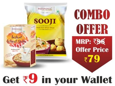 Combo- Instant Wheat Dalia 250 gm + Suji 500 gm- Rs 9 Off