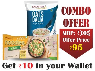 Combo- Oats Dalia 400gm+Atta Noodles classic F. Pack 240gm -Rs 10 Off