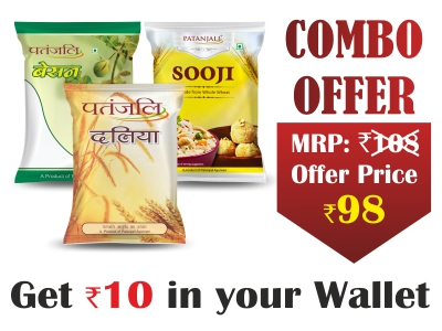 Combo- Besan 500gm+Suji 500gm+Wheat dalia 500gm- Rs 10 Off