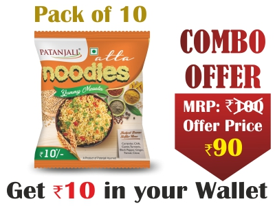 Pack of 10- Atta Noodles Yummy Masala 60gm-  Rs 10 Off