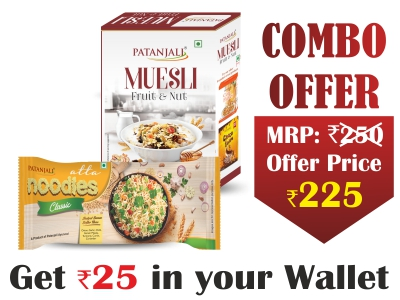 PATANJALI BREAKFAST CEREALS - MUESLI FRUIT & NUT 450G+ATTA NOODLES CLASSIC F.PACK 240 G - Rs 25 Off