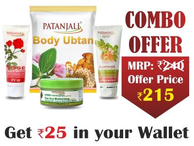 Nourishing Body Combo- BODY UBTAN 100 gm+ROSE FACE WASH 60 ml+MOISTURIZER CREAM 50 gm +APRICOT FACE SCRUB 60 gm- Rs 25 Off