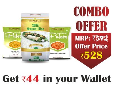 Patanjali Rice and Pulses Combo- Arhar dal 1kg, malka masur 1kg + sona masuri rice 5 kg- Rs 44 Off