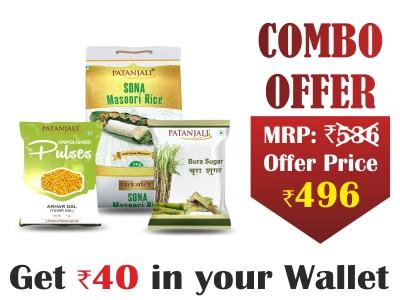 Patanjali Food Combo- Sona Masuri Rice 5kg+ Arhar dal 1 kg + Bura 1 kg - Rs 40 Off