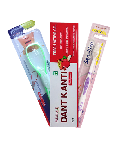 ORAL CARE COMBO ( DANT KANTI ACTIVE FRESH + SENSITIVE TOOTH BRUSH + TONGUE CLEANER
