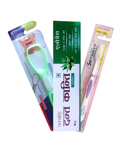 ORAL CARE COMBO ( DANT KANTI ALOEVERA GEL TOOTHPASTE + SENSITIVE TOOTH BRUSH + TONGUE CLEANER )