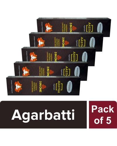 AASTHA 3 IN ONE AGARBATTI (Pack of 5)