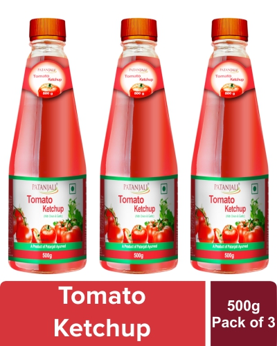PATANJALI TOMATO KETCHUP WITH ONION GARLIC 500 GM (Pack of 3)