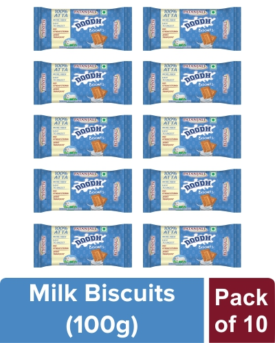 PATANJALI DOODH BISCUITS - 100 gm (Pack of 10)