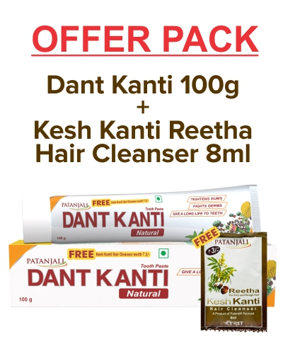 DANT KANTI NATURAL 100 GM WITH FREE KESH KANTI REETHA HAIR CLEANSER 8ML