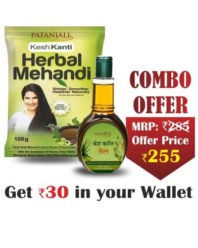 Kesh Kanti Combo- KESH KANTI HERBAL MEHANDI- 100 GM+Kesh Kanti Hair Oil 300ml- Rs 30 Off