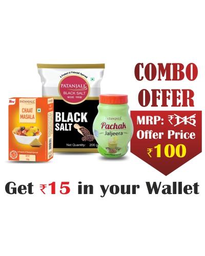 Combo- Kala Namak 250 gm+ Chaat Masala 100 gm+ Jaljeera 60 gm - Rs 15 Off