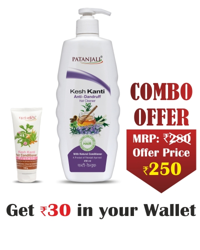 Kesh Kanti Combo- Conditioner Protein 100 ml+Hair Cleanser A. Dandruff 450 ML-  Rs 30 Off