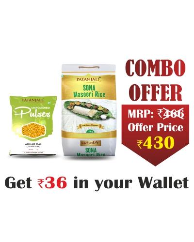 Patanjali Rice & Pulse Combo(Arhar Dal - 1 kg, Sona Masoori - 5 kg) -Rs 36 Off