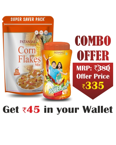 Patanjali Healthy Treats for Kids- Powervita 500gm+Cornflakes 875gm- Rs 45 Off