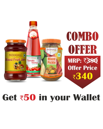 Sauce and Pickle Combo - Mixed Pickle 1 Kg+ Tomato Ketchup o&g 1 ltr(P)+ Mixed Fruit Jam 500gm- Rs 50 Off