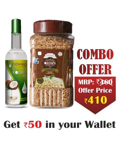 Natural Coconut Oil Combo- Virgin Coconut Oil 500ml+ BROWN BASMATI RICE JAR  - 1kg - Rs 50 Off