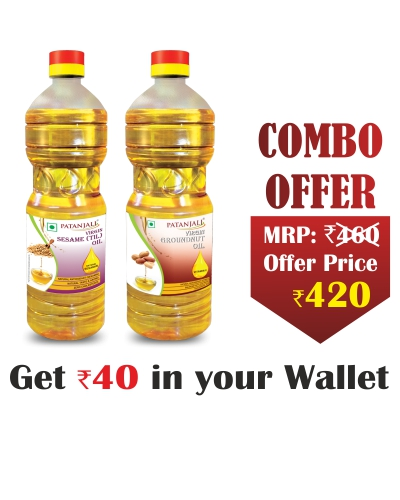 Healthy Cooking Oil Combo- Sesame Oil 1ltr+ Groundnut Oil 1ltr - Rs 40 Off
