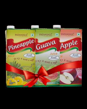 PATANJALI FRUIT BEVERAGES COMBO ( PINEAPPLE JUICE 1Ltr + APPLE JUICE 1Ltr + GUAVA JUICE 1Ltr)