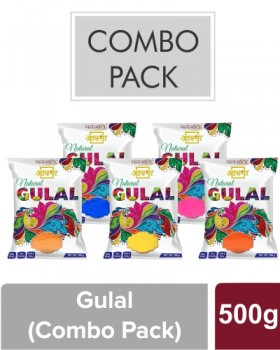 AASTHA NATURAL GULAL -Combo (Red, Yellow, Blue, Pink & Orange)