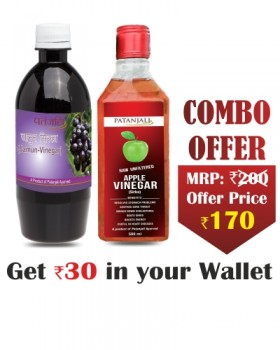Patanjali Diabetic Care Vinegar Combo- Jamun Sirka 500 ml+ Apple Vinegar 500 ml- Rs 30 Off